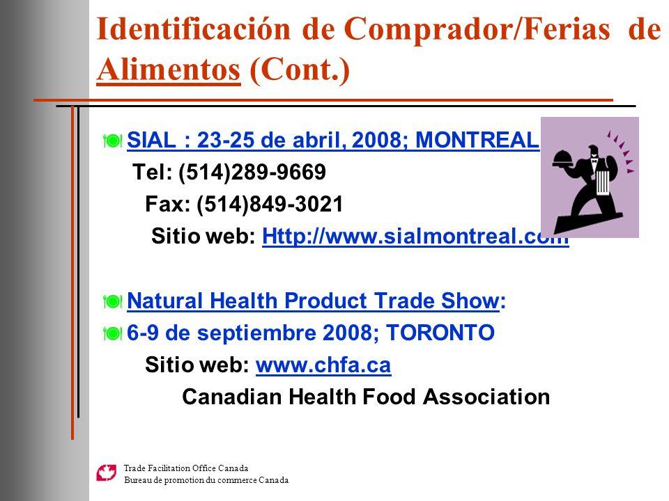 Identificación de Comprador/Ferias de Alimentos (Cont.)