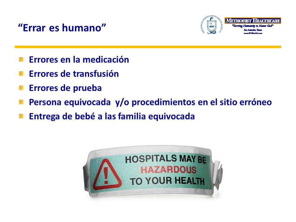 Errar es humano Errores en la medicación Errores de transfusión