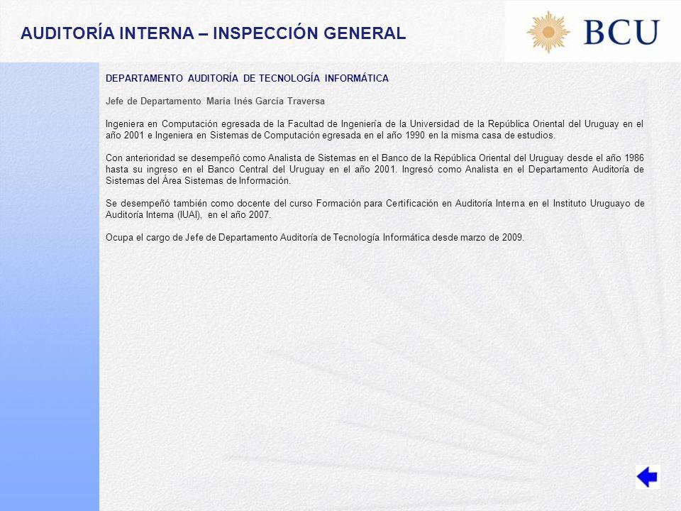 AUDITORÍA INTERNA – INSPECCIÓN GENERAL