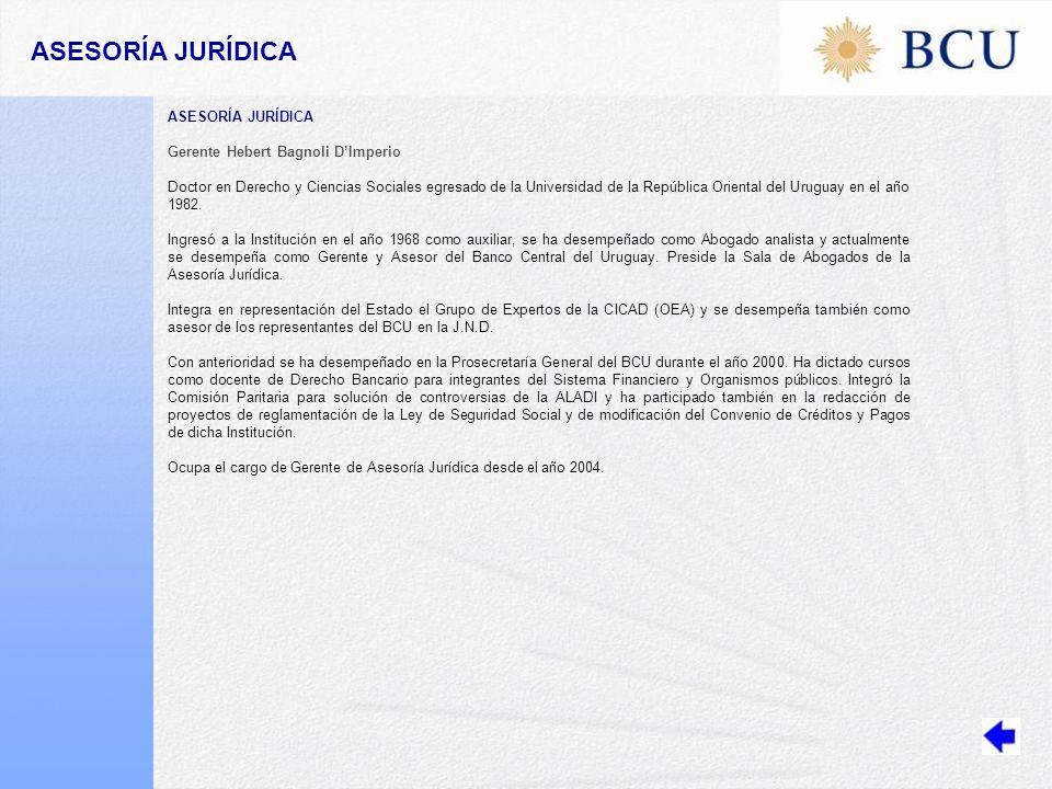 ASESORÍA JURÍDICA ASESORÍA JURÍDICA Gerente Hebert Bagnoli D'Imperio