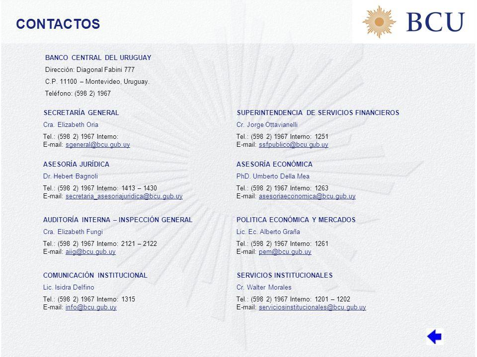 CONTACTOS BANCO CENTRAL DEL URUGUAY Dirección: Diagonal Fabini 777