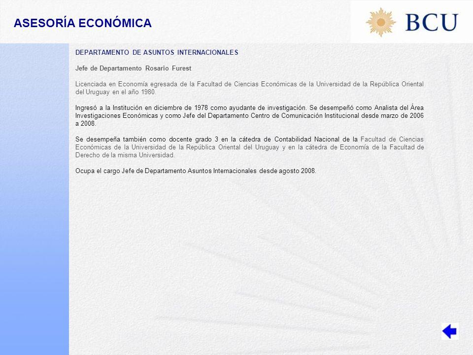 ASESORÍA ECONÓMICA DEPARTAMENTO DE ASUNTOS INTERNACIONALES