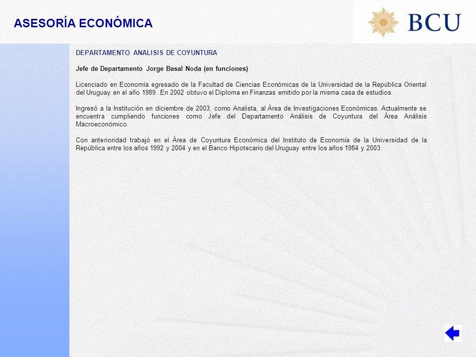 ASESORÍA ECONÓMICA DEPARTAMENTO ANALISIS DE COYUNTURA