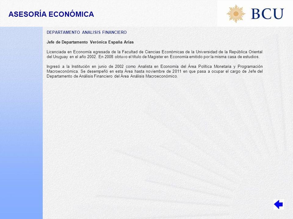 ASESORÍA ECONÓMICA DEPARTAMENTO ANALISIS FINANCIERO
