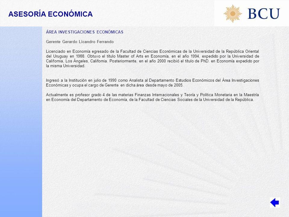 ASESORÍA ECONÓMICA ÁREA INVESTIGACIONES ECONÓMICAS