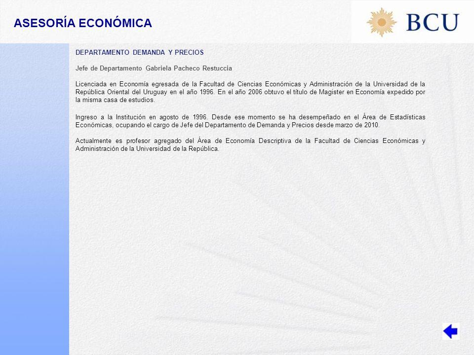 ASESORÍA ECONÓMICA DEPARTAMENTO DEMANDA Y PRECIOS