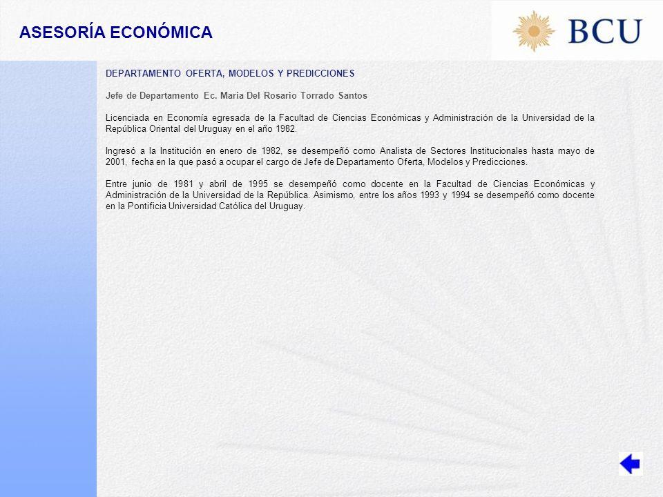 ASESORÍA ECONÓMICA DEPARTAMENTO OFERTA, MODELOS Y PREDICCIONES