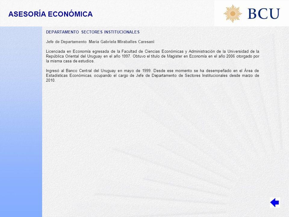 ASESORÍA ECONÓMICA DEPARTAMENTO SECTORES INSTITUCIONALES