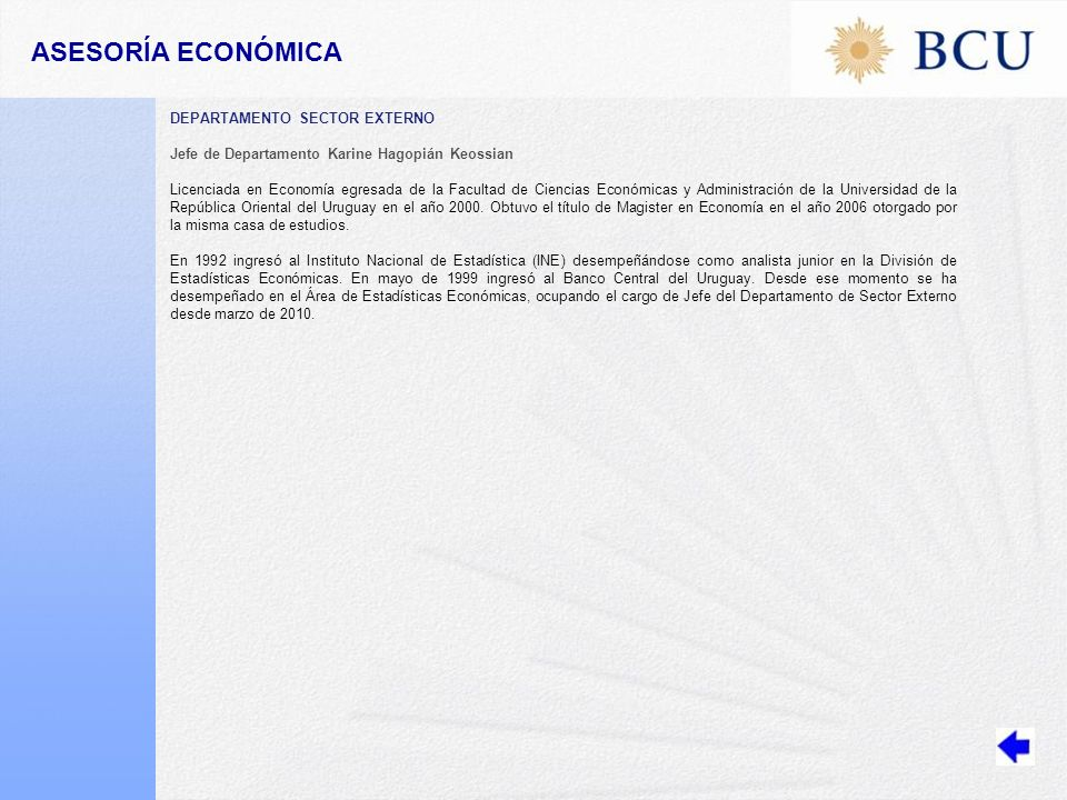 ASESORÍA ECONÓMICA DEPARTAMENTO SECTOR EXTERNO