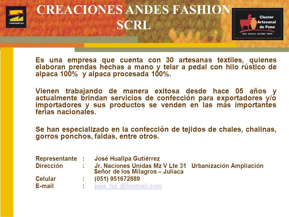 CREACIONES ANDES FASHION SCRL