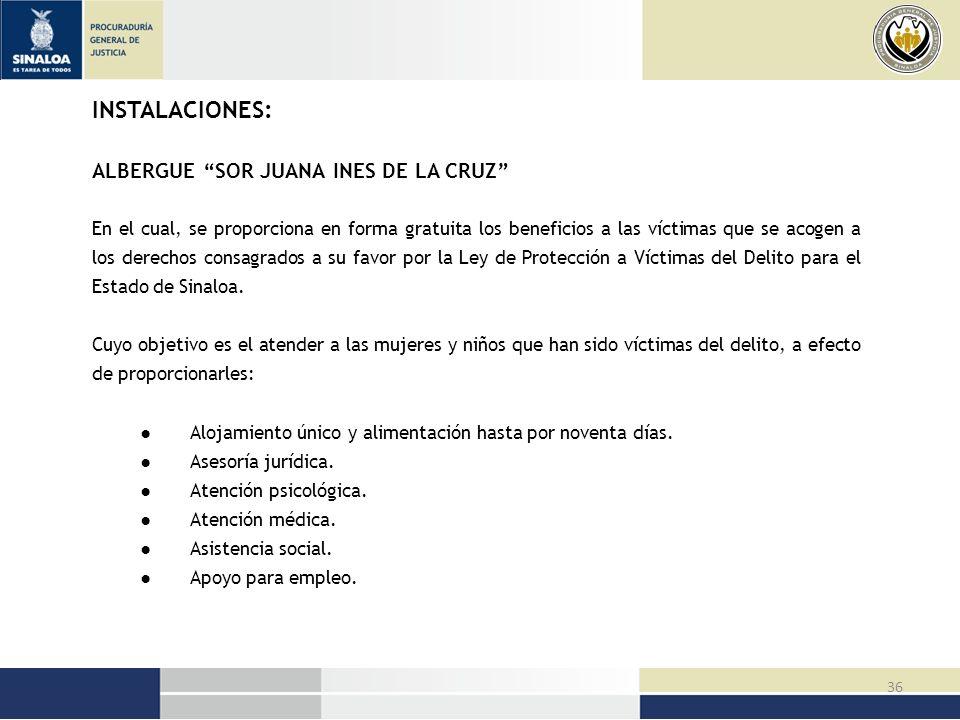 INSTALACIONES: ALBERGUE SOR JUANA INES DE LA CRUZ