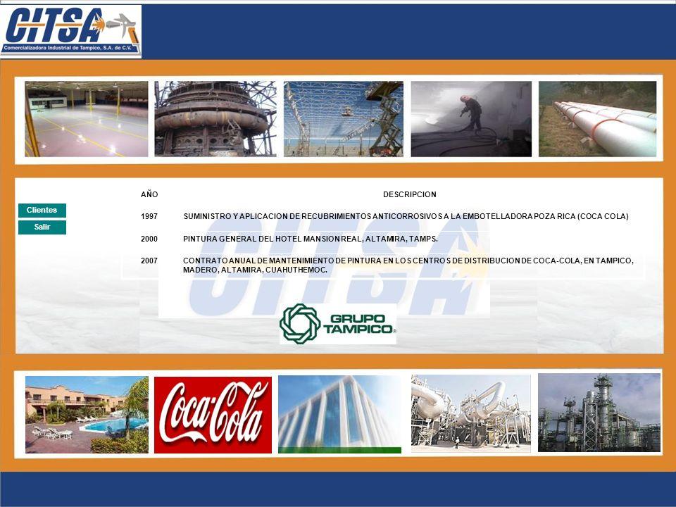 AÑO DESCRIPCION. 1997. SUMINISTRO Y APLICACION DE RECUBRIMIENTOS ANTICORROSIVOS A LA EMBOTELLADORA POZA RICA (COCA COLA)