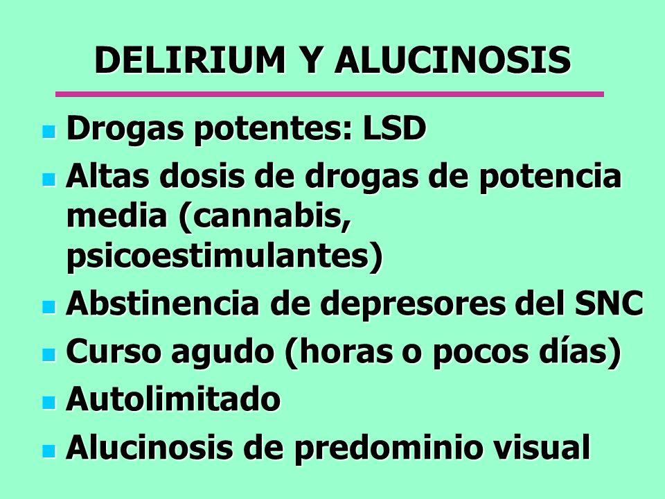 DELIRIUM Y ALUCINOSIS Drogas potentes: LSD