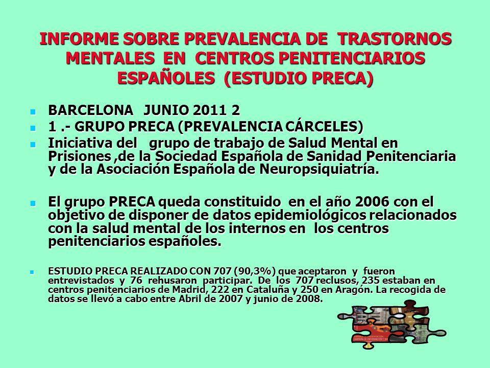 INFORME SOBRE PREVALENCIA DE TRASTORNOS MENTALES EN CENTROS PENITENCIARIOS ESPAÑOLES (ESTUDIO PRECA)