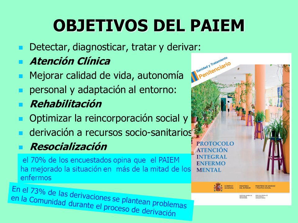 OBJETIVOS DEL PAIEM Detectar, diagnosticar, tratar y derivar: