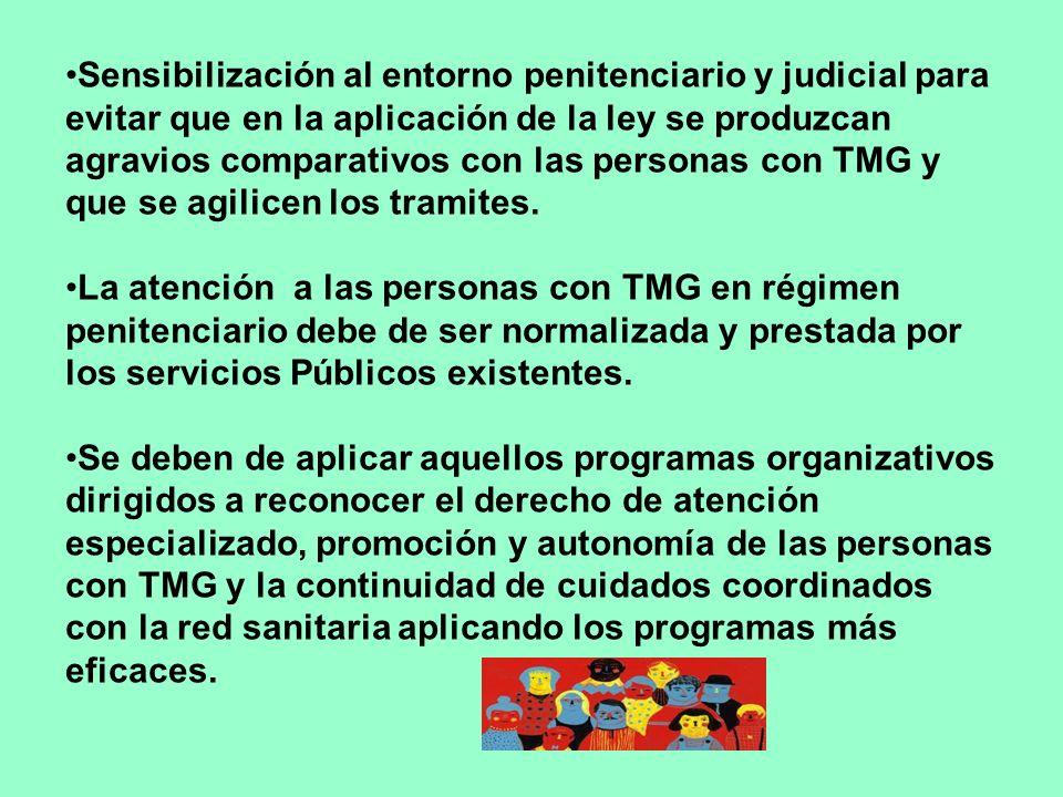 Sensibilización al entorno penitenciario y judicial para evitar que en la aplicación de la ley se produzcan agravios comparativos con las personas con TMG y que se agilicen los tramites.
