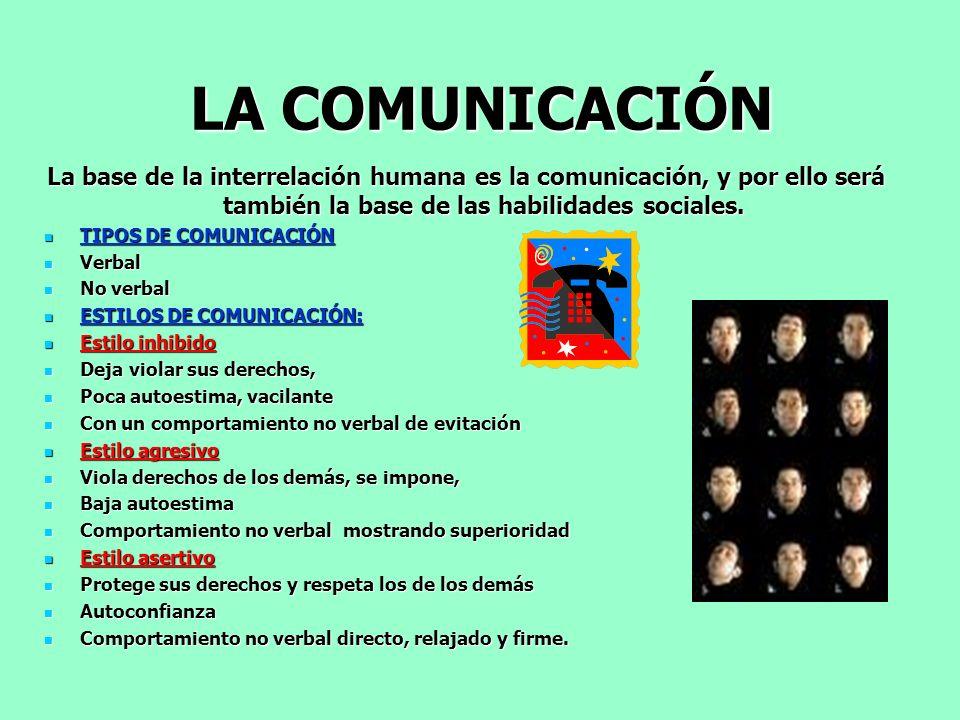 LA COMUNICACIÓN La base de la interrelación humana es la comunicación, y por ello será también la base de las habilidades sociales.