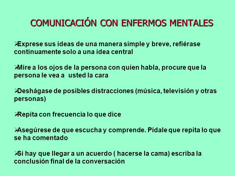 COMUNICACIÓN CON ENFERMOS MENTALES