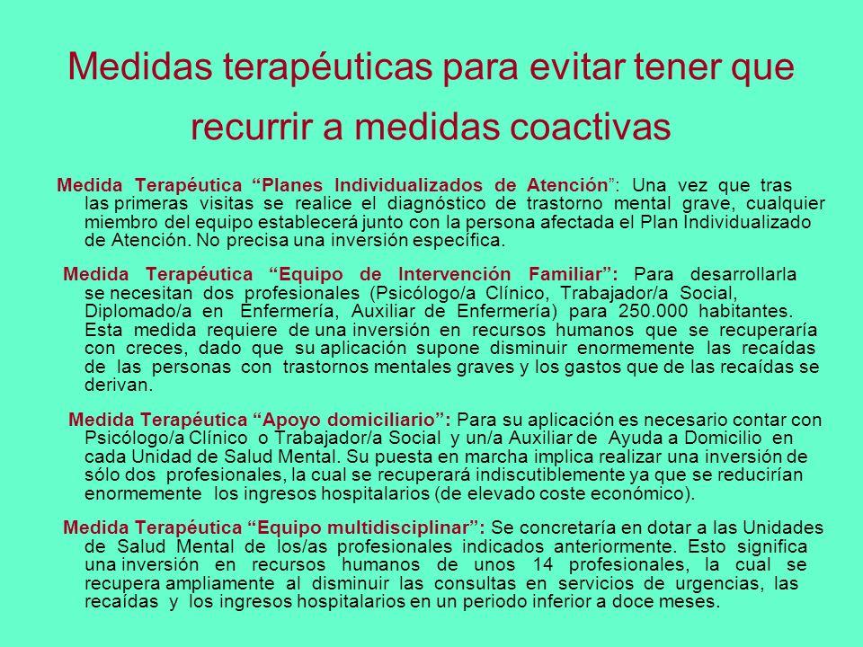 Medidas terapéuticas para evitar tener que recurrir a medidas coactivas