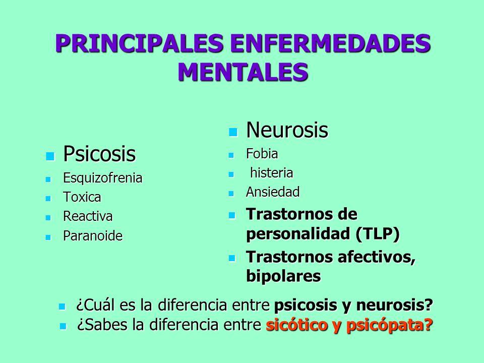 PRINCIPALES ENFERMEDADES MENTALES