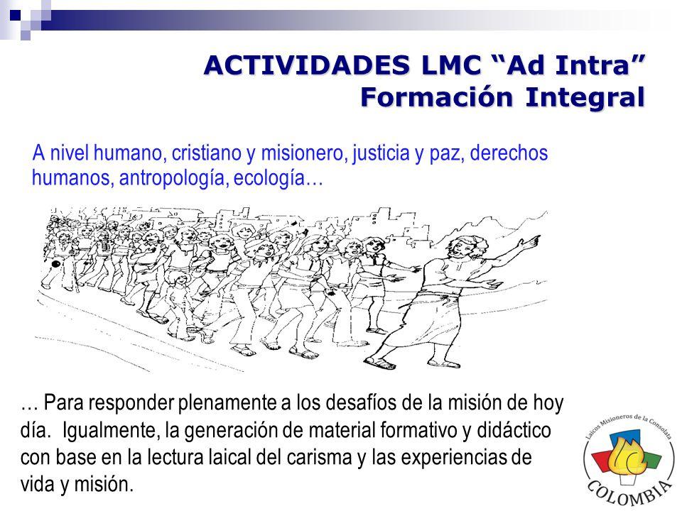 ACTIVIDADES LMC Ad Intra Formación Integral