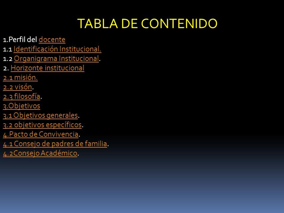 TABLA DE CONTENIDO 1.Perfil del docente
