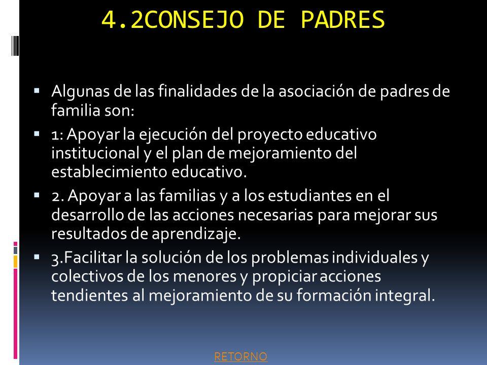 4.2CONSEJO DE PADRES Algunas de las finalidades de la asociación de padres de familia son: