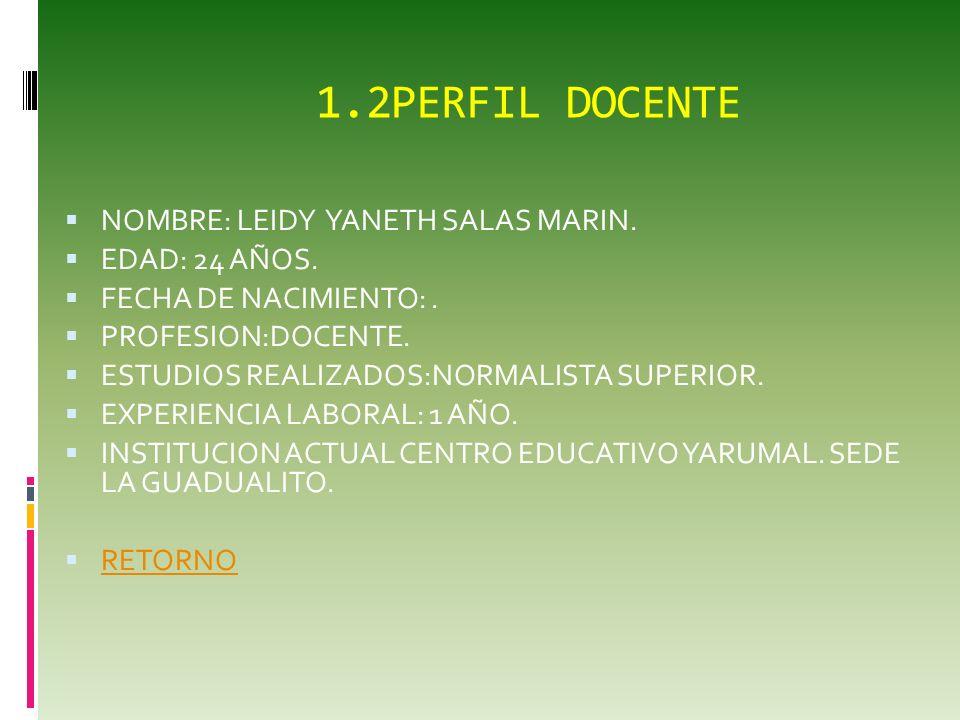 1.2PERFIL DOCENTE NOMBRE: LEIDY YANETH SALAS MARIN. EDAD: 24 AÑOS.