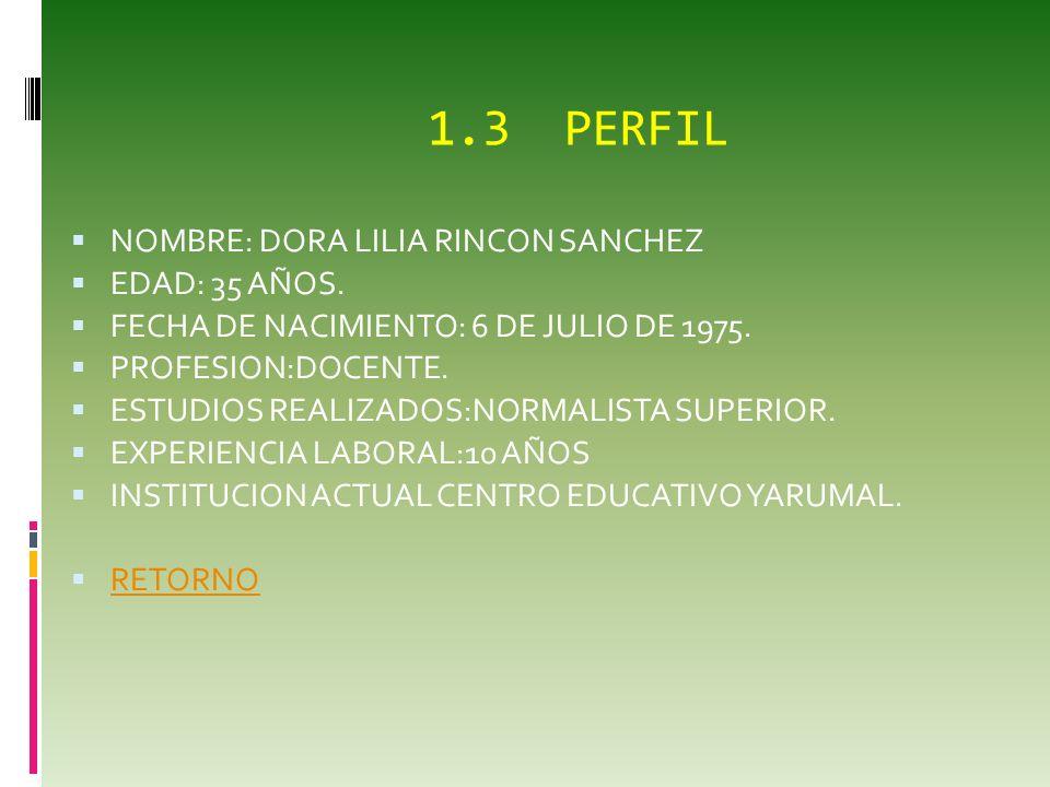 1.3 PERFIL NOMBRE: DORA LILIA RINCON SANCHEZ EDAD: 35 AÑOS.