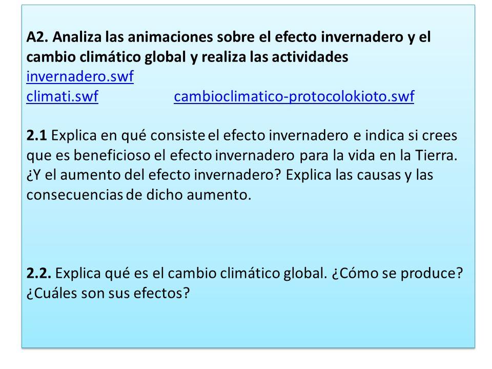 A2. Analiza las animaciones sobre el efecto invernadero y el cambio climático global y realiza las actividades.
