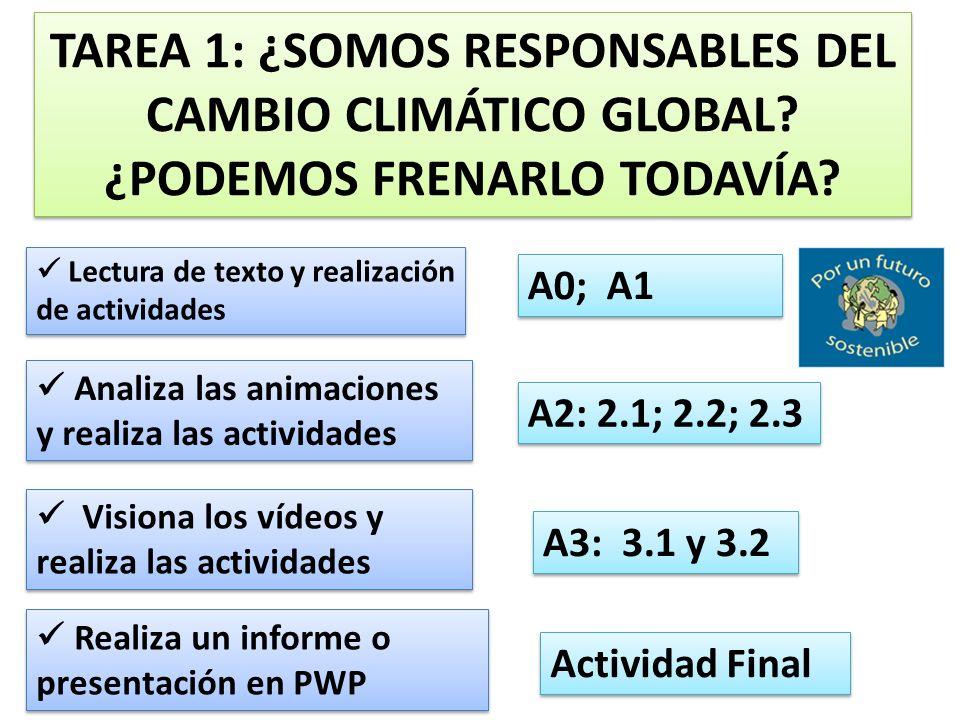 TAREA 1: ¿SOMOS RESPONSABLES DEL CAMBIO CLIMÁTICO GLOBAL