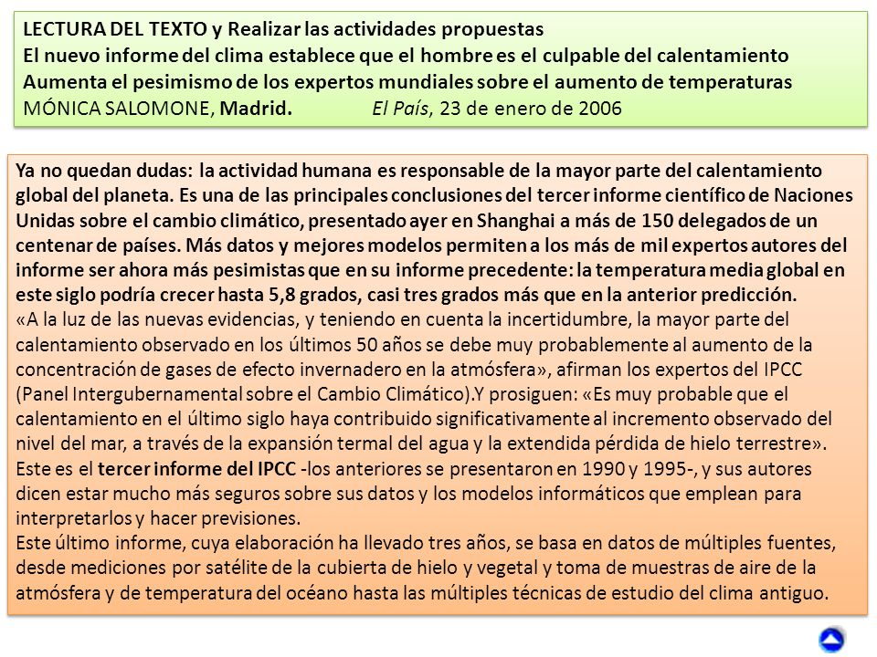 LECTURA DEL TEXTO y Realizar las actividades propuestas