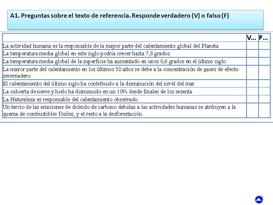 A1. Preguntas sobre el texto de referencia