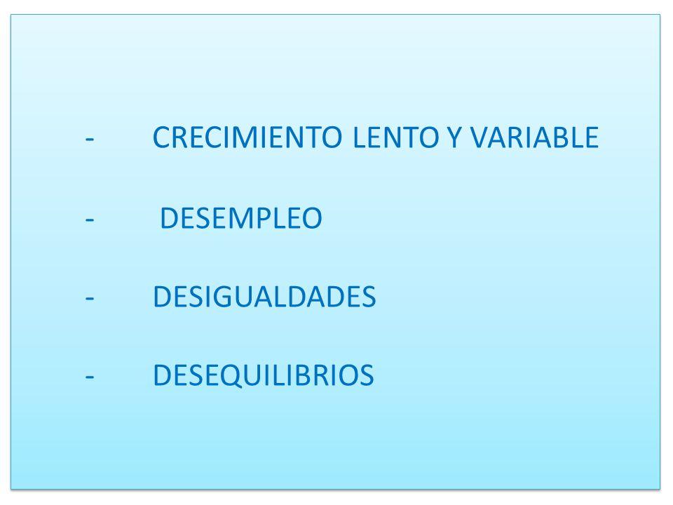 -. CRECIMIENTO LENTO Y VARIABLE. -. DESEMPLEO. -. DESIGUALDADES. -
