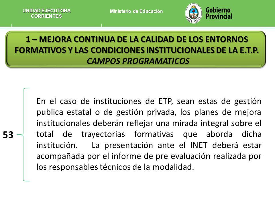 UNIDAD EJECUTORA CORRIENTES Ministerio de Educación
