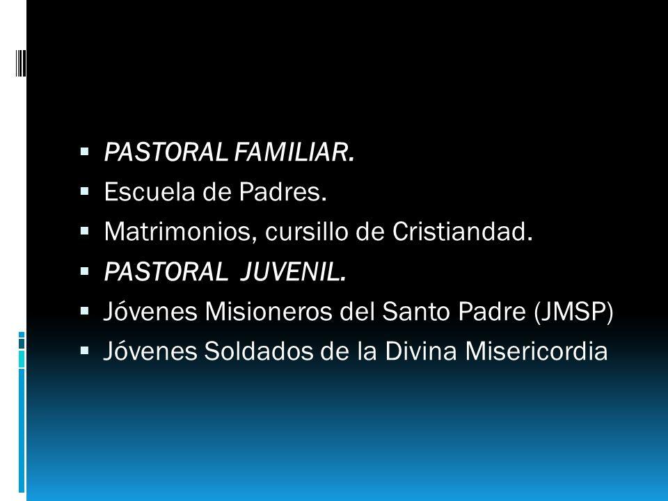 PASTORAL FAMILIAR. Escuela de Padres. Matrimonios, cursillo de Cristiandad. PASTORAL JUVENIL. Jóvenes Misioneros del Santo Padre (JMSP)
