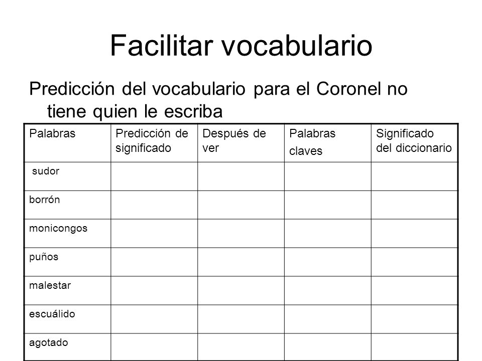 Facilitar vocabulario