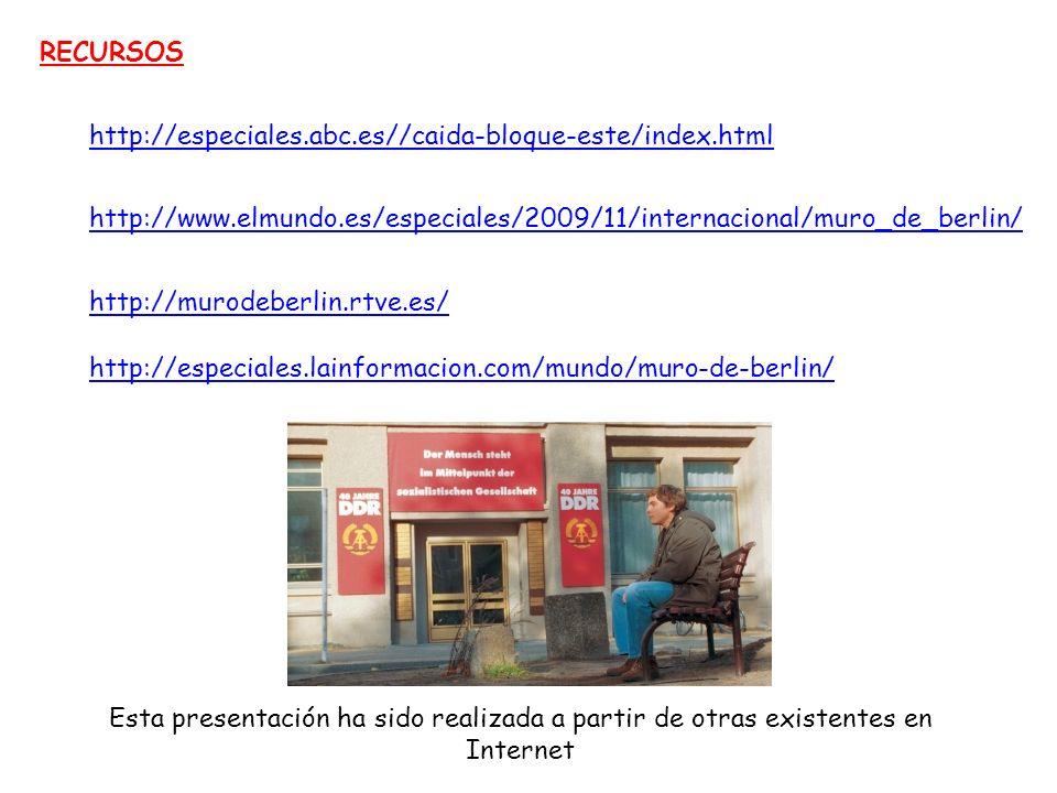 RECURSOS http://especiales.abc.es//caida-bloque-este/index.html. http://www.elmundo.es/especiales/2009/11/internacional/muro_de_berlin/
