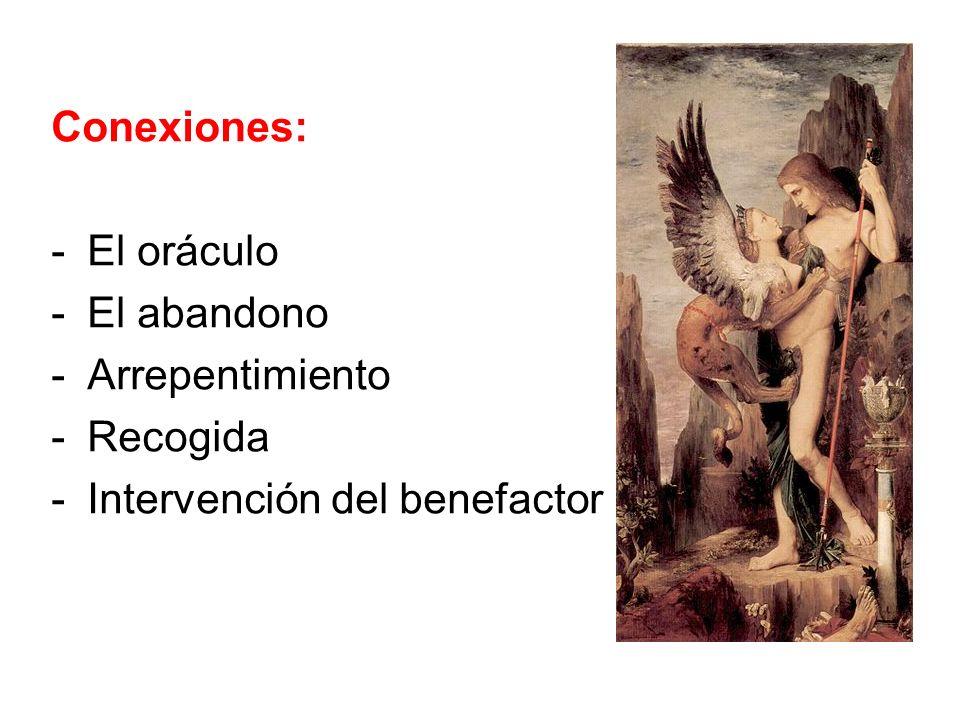 Conexiones: El oráculo El abandono Arrepentimiento Recogida Intervención del benefactor