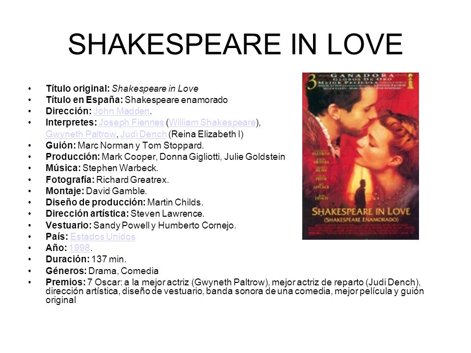SHAKESPEARE IN LOVE Título original: Shakespeare in Love