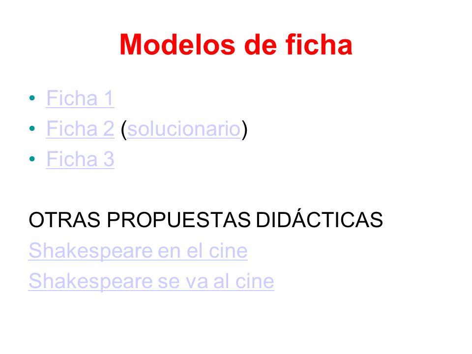 Modelos de ficha Ficha 1 Ficha 2 (solucionario) Ficha 3
