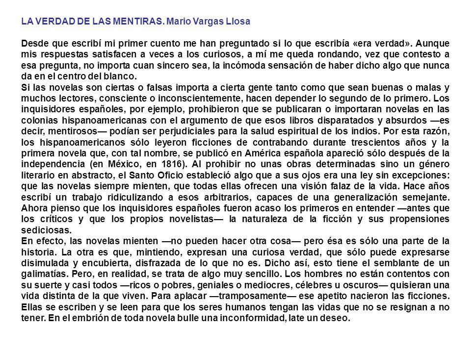 LA VERDAD DE LAS MENTIRAS. Mario Vargas Llosa