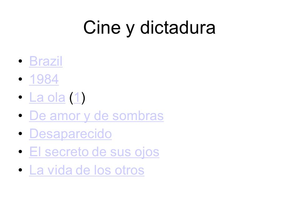 Cine y dictadura Brazil 1984 La ola (1) De amor y de sombras