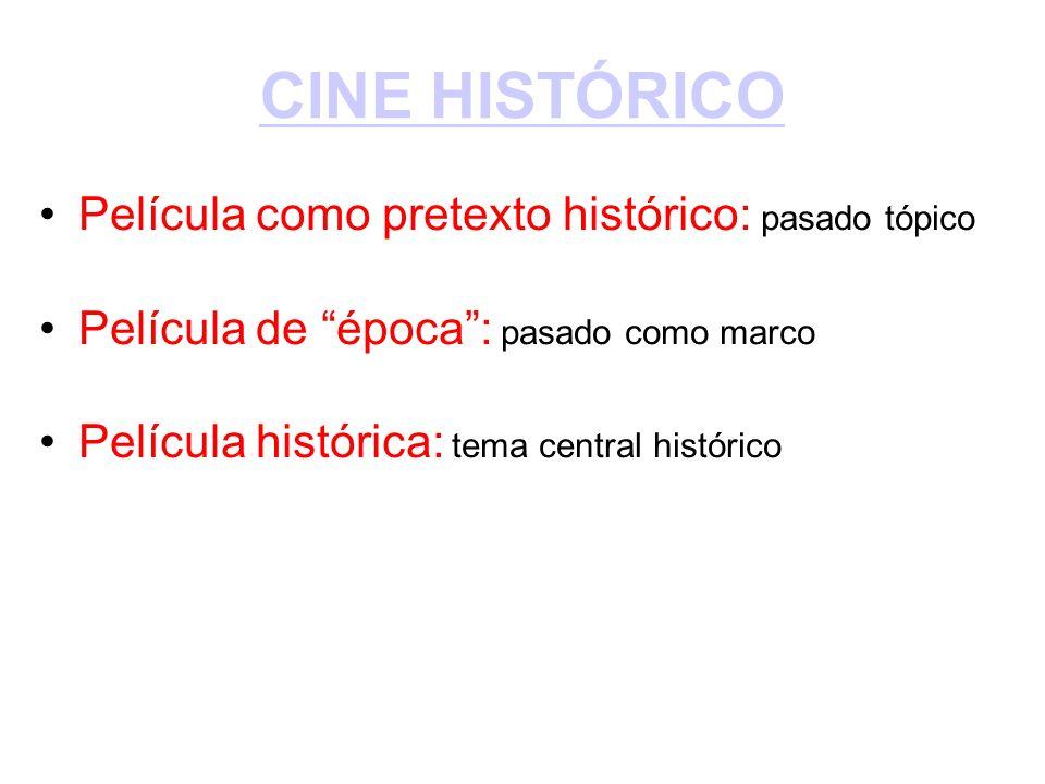 CINE HISTÓRICO Película como pretexto histórico: pasado tópico