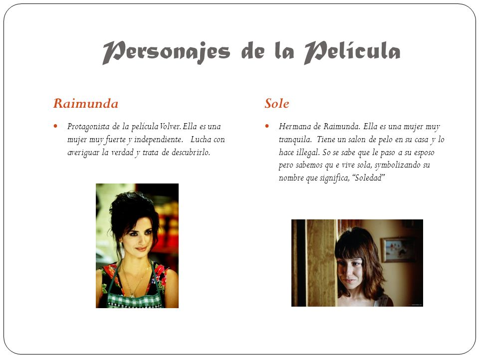 Personajes de la Película