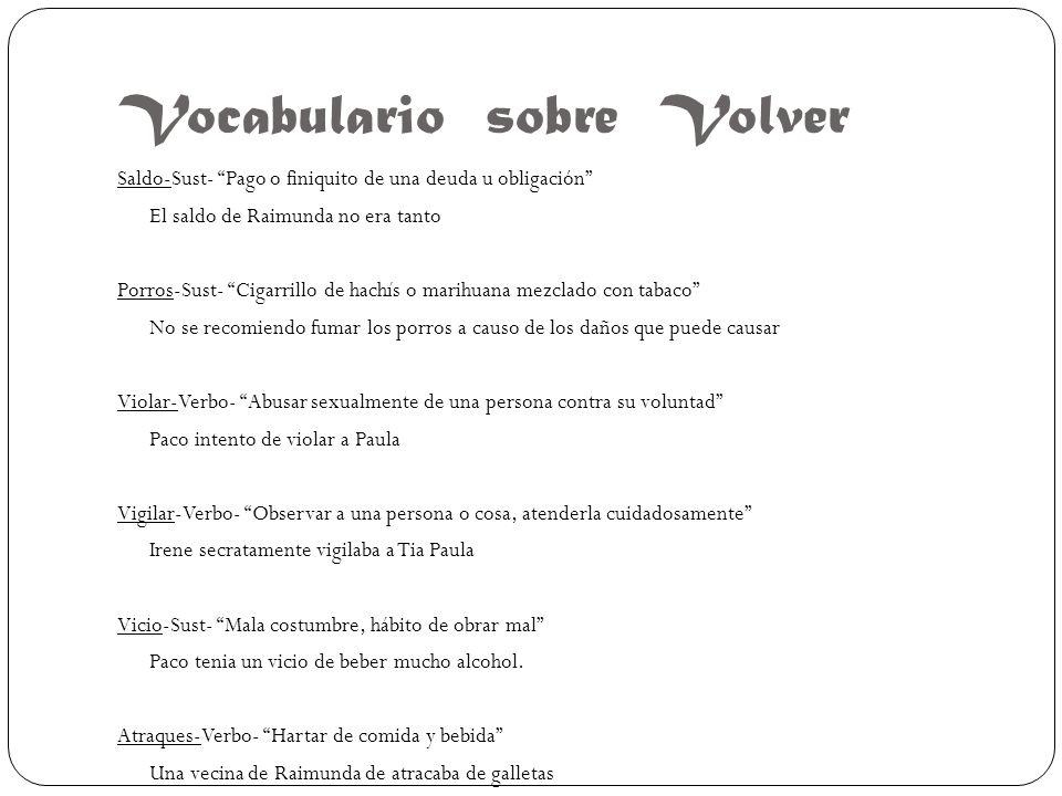 Vocabulario sobre Volver