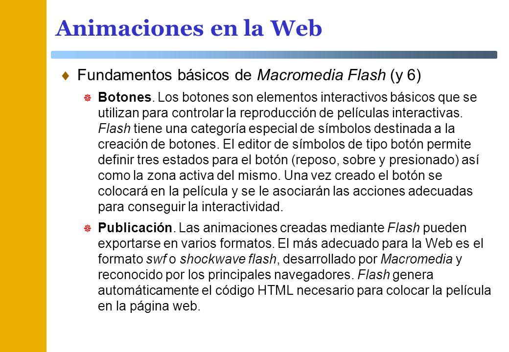 Animaciones en la Web Fundamentos básicos de Macromedia Flash (y 6)