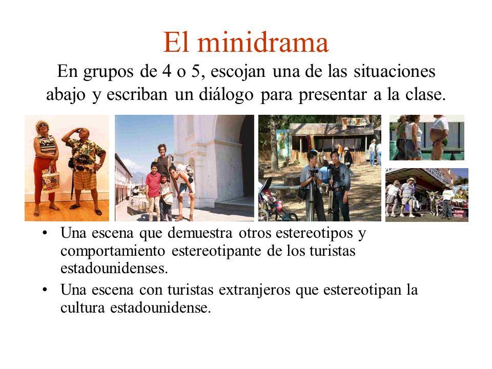 El minidrama En grupos de 4 o 5, escojan una de las situaciones abajo y escriban un diálogo para presentar a la clase.