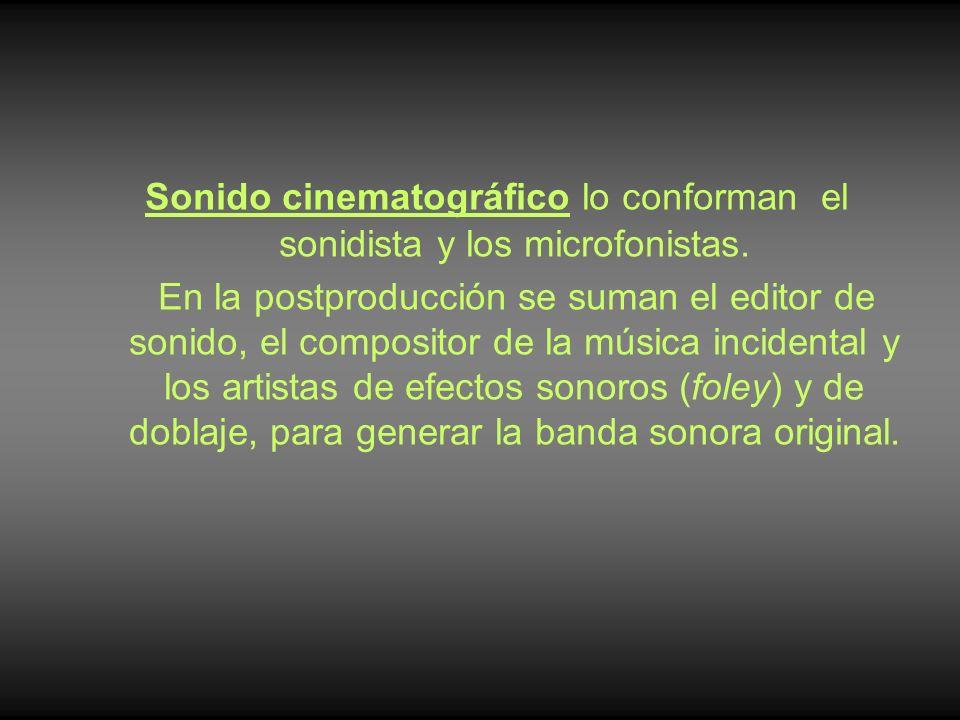 Sonido cinematográfico lo conforman el sonidista y los microfonistas.