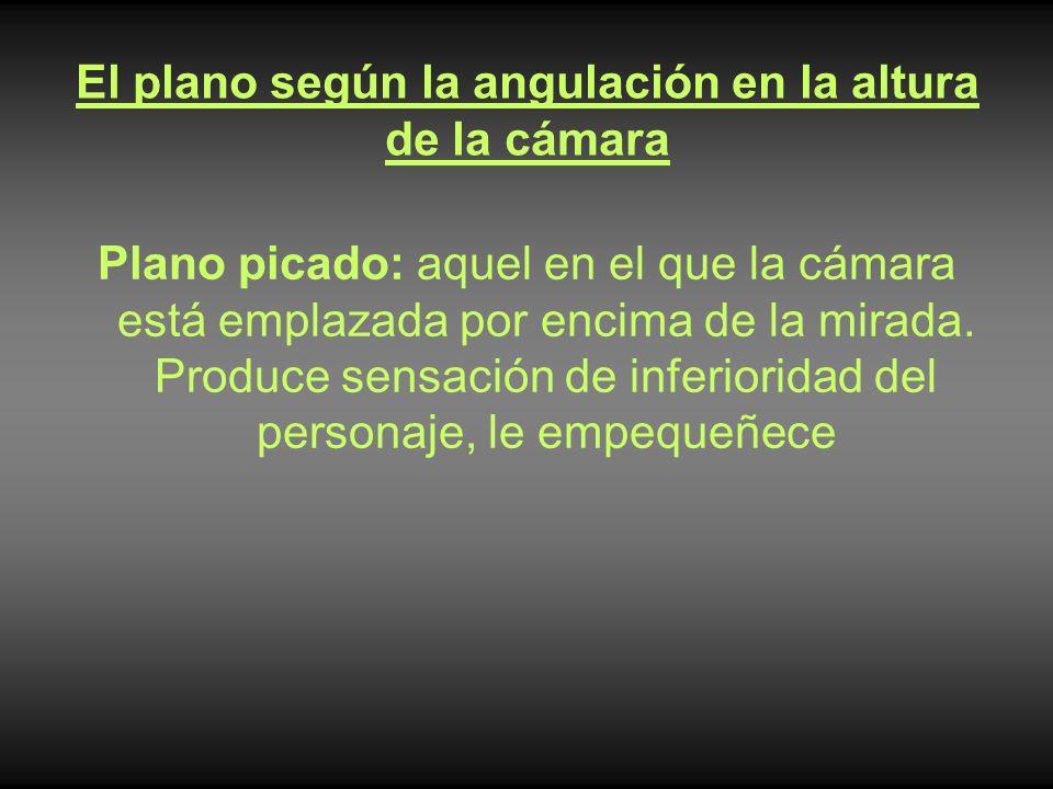El plano según la angulación en la altura de la cámara